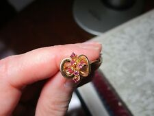 10K Gold Ruby Art Nouveau Cluster Ring, Size 6 Unique Design