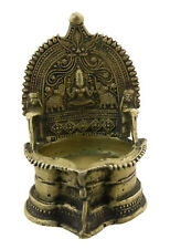 Lakshmi Antique Lamp in Butter Oil of Temple Hindu Authentic Bronze 7493 My