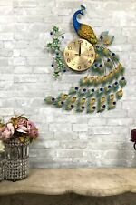"""29""""High Large Victorian Iridescent Peacock With Colorful Gems Train Wall Clock"""