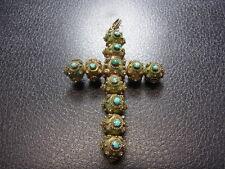 750er Gelbgold Kreuz Antik mit Türkis Steinen L 7 cm B 5 cm Gewicht 12,75 Gramm