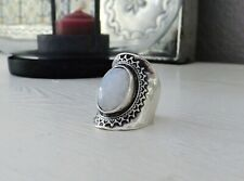 Sterling Silver 925 Rainbow Moonstone Indonesia Long STATEMENT Saddle Sz 8 Ring