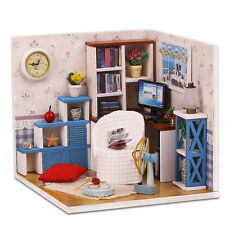 Kits Wood Dollhouse Miniature DIY House Room with Furniture+Cover Warm Home M003