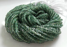 "13"" strand rare green APATITE faceted rondelle gem stone beads 3mm"