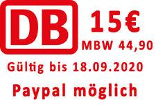 15 Euro Bahn DB Gutschein eCoupon (MBW 44.90) - Paypal m?glich.