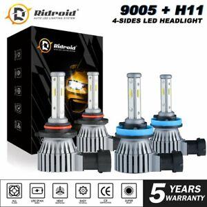 4x MINI 4-Sides LED Headlight Combo Bulb Kit High 9005 H11 Low Beam 320W 64000LM