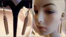 "LONG GOLD 3.5"" CHAIN TASSEL PAVE CRYSTAL METAL HOOK DANGLE DROP EARRINGS NEW"