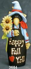 """CERAMIC BISQUE 'HAPPY FALL Y'ALL' SCARE CROW~ READY TO PAINT~12""""~LIGHT KIT INCL."""