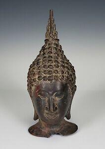 ANTIQUE THAILAND SOUTHEAST ASIA BRONZE BUDDHA STATUE HEAD