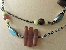 """Barse Sterling Silver Stone Glass Beaded Necklace .925 STRAND Turquoise 30"""""""