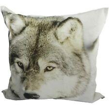 Kissen Winter Wolf 50x50 cm im Landhaus Stil  Dekokissen Couchkissen Sofakissen