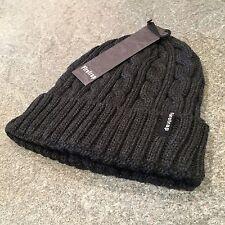 Firetrap Men's Charcoal Cable Knit Beanie Hat BNWT Os Boarding Skull Cap RRP £18