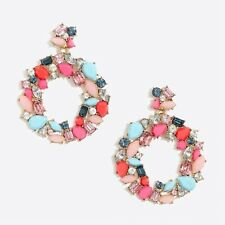 J.Crew Factory Colorful Wreath Statement Earrings! Sold Out! BRIGHT CORAL