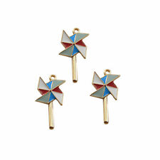 7pcs Enamel Colorful 37x17mm Pinwheel Look Alloy Charms Pendants Crafts 53406