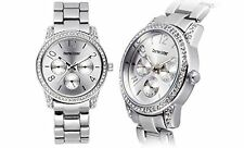 NEW Charles Latour 10018-SIL Womens Chaplet Multi-Function All Silver Tone Watch