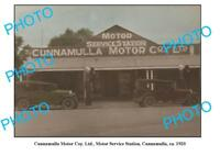 OLD LARGE PHOTO OF CUNNAMULLA SERVICE STATION QLD SHELL PETROL BOWSER c1920
