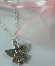 "GUARDIAN ANGEL NECKLACE ""ANGELS WATCHING OVER ME"" GIFT IN ORGANZA GIFT BAG"
