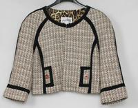Joseph Ribkoff Cropped Tweed Jacket Shrug Brown Ivory Black Size 6 NEW $279