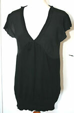 Oasis Uk16 Eu44 Black Knitted Top With Silk Cap Sleeves and Bustline -
