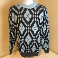 Vtg 90s Unbranded Mens Crewneck Sweater Large USA Made Geometric Blue Gray Black