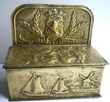 boite à allumettes laiton doré, Bateaux, Moulin avec armoiries LUCIOR EMERCO