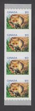 CANADA COIL STRIP #2427 4 x $1.03 RED FOX, BABY WILDLIFE DEFINITIVE