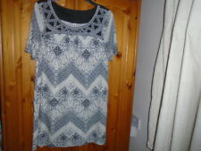 Ivory and black pattern short sleeve tunic dress with embroidered neck, NEXT, 12