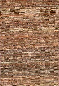 Striped Gabbeh Kashkoli Oriental Area Rug Hand-knotted Modern Foyer Carpet 4x5