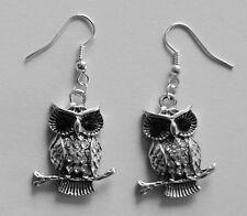 Earrings #712 OWL on branch (27mm x 21mm) Rhinestones Diamontes Silver Tone