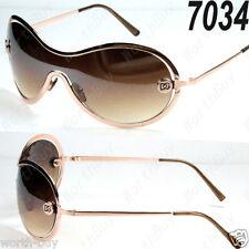New DG Shield One Lens Womens Designer Sunglasses Shades Retro Vintage Wrap Gold