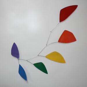 Modern Hanging Mobile Art Tribute Rainbow Leaves Big New Metal Free Shipping