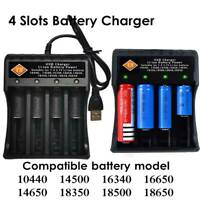 4-Slot USB Smart Battery Charger for 3.7V 1865*0 Li-ion Rechargeable Battery US-