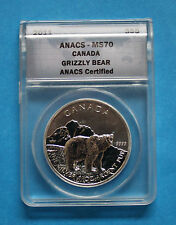 2011 $5 Canadian Silver Grizzly Bear - ANACS MS70
