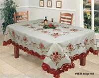 Holiday Christmas Embroidered Poinsettia Tablecloth With Napkins Beige Red 6630