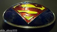 ~ Classic SUPERMAN LOGO Belt Buckle ~ Full metal 4 inch x 3 Justice League
