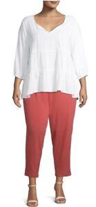 Terra & Sky Knit Coral Bisque Pants Plus Size Petite 4X(28-30) ..NEW!!!