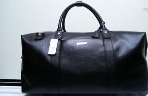 Brooks Brothers Black Leather Wheeled Duffel Travel Bag NWT