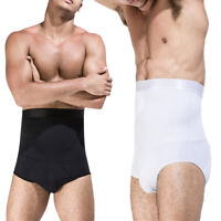 Men High Waist Slimming Panties Tummy Control Thong Briefs Underwear Body Shaper