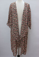 Medium LuLaRoe Shirley Kimono Chiffon Black base Floral Vintage Roses sh118