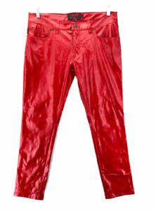 Tripp NYC Red Faux Leather Slim Leg Men's Gothic Pants Men's Size 36