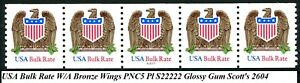 USA Bulk Rate W/A Bronze Wings MNH PNC5 Plate S22222 Scott's 2604