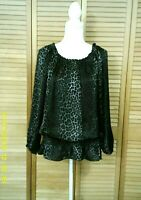 Michael Kors Black & Gray Animal Print Poly Peasant Top Blouse Size M