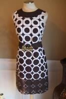 TORY BURCH RETRO BROWN WHITE LINEN DRESS SIZE 8  (dr100