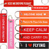 WOVEN TAG KEYRING / Flight Key Chain Luggage Bag Travel Embroidered Badge Patch