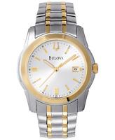 Bulova Men's CURV Quartz Silver and Gold Tone Calendar 38mm Watch 98H18