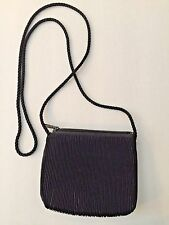 Claire's Black Evening Purse/Bag Ribbed Satin Rope Handle