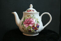 Arthur Wood & Son Staffordshire 6424 White Teapot with Pink Flowers ENGLAND MINT