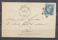 1873 Env Convoyeur Station Survilliers CR.P.CH en Bleu Seine & OISE(72) X1274