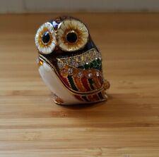 "enamelled owl pillbox pill box ring box crystal vintage trinket 1.5"" inch ref2P3"