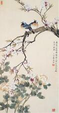 Chinese Silk Scroll Painting magpie plum blossom Home Office Decoration(喜上眉梢)