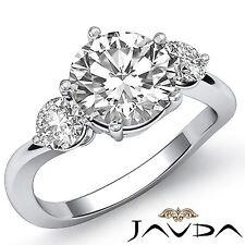 Unique Round Cut Diamond Engagement 3 Stone Ring GIA F SI1 14k White Gold 1.5ct